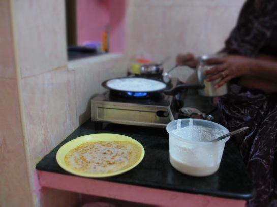 Zubereitung von Dosa, Südindien