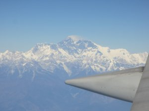 Blick auf den Mt. Everest, Flug KTM-BKK