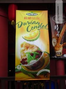 Durian-Cendol: das malaysische Dessert aus shaved ice, Kokosmilch und roten Bohnen mit Durian 'verfeinert'